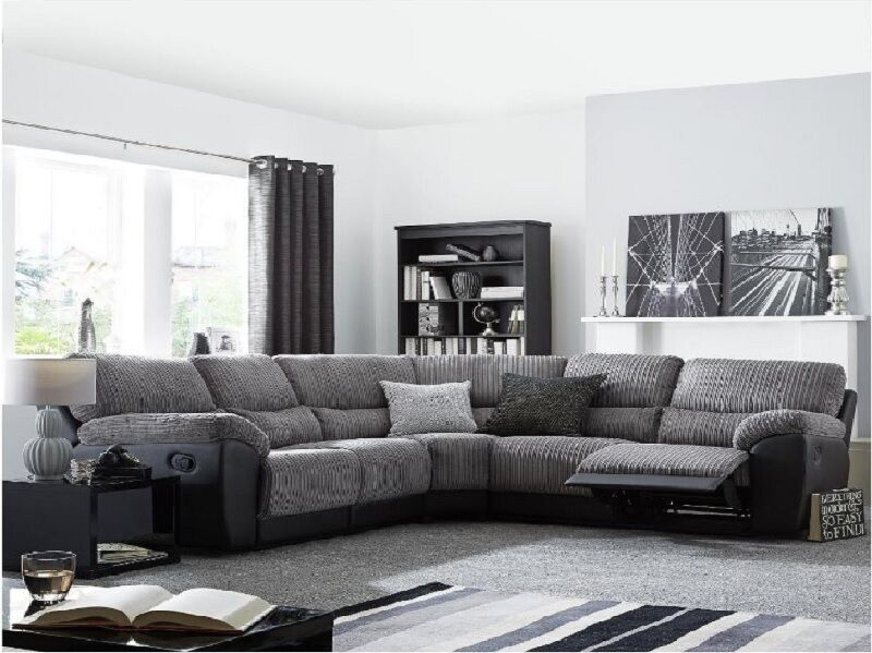 Sienna Recliner Corner Sofa In Fabric With Bonded Leather
