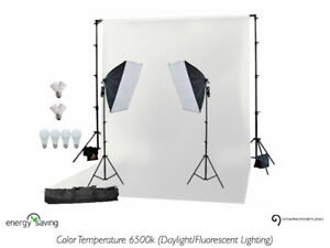 900w Photo Video Softbox Light Kit + Background & Stand
