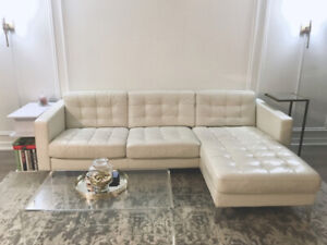 IKEA White Genuine Leather Sectional Couch