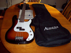For Sale Like New Austin Bass Guitar with Case