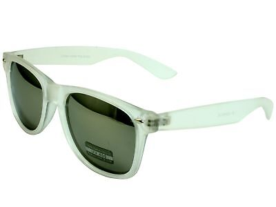 Sunglasses Classic Frosted Crystal Frame Gray Mirror Lens
