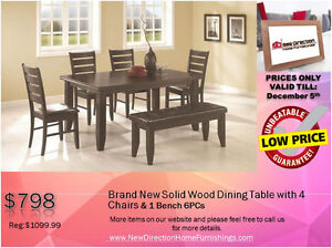 ◆Super Truckload Sale! Brand New 6PCS Solid Wood Dining Set@NEWD Edmonton Edmonton Area image 1