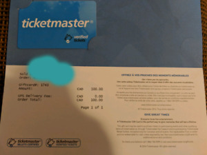$100 Ticketmaster Gift Card