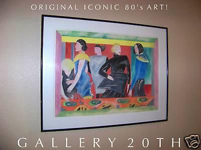 AWESOME! 1980'S ORIG MODELS WATERCOLOR PAINTING! ART NAGEL VTG FASHION MOD RETRO
