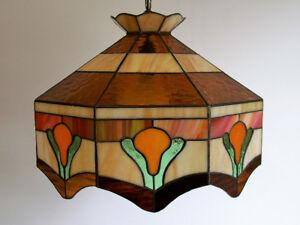 Luminaire Vintage en Vitrail - Vintage Slag Glass Light