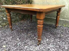 Antique Edwardian Mahogany Wind Out Dining Table On Castle