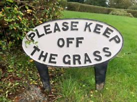 Antique 1920s cast iron keep off the grass park sign