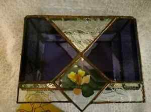 Handmade Stained Glass Jewelry Box - Clear and Amethyst Glass