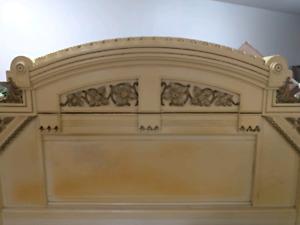 All wood antique queen headboard