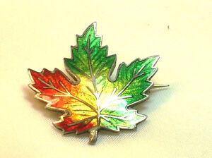 Vintage Sterling Silver ENAMEL maple leaf Brooch