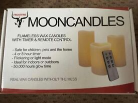 Mooncandles flameless wax candles timer remote control brand new in box