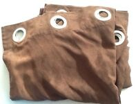 Chocolate brown micro suede panel curtains, 2