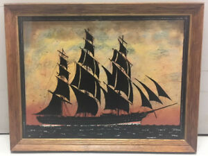 """Mixed Media """"Cutty Shark"""" Unique Design with Solid Wood Frame"""