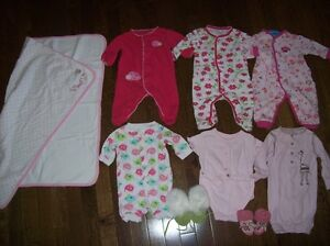 Girls Sleepers, Slippers & Blanket, Newborn to 3 months