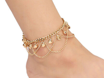 - Indian Bridal Gold Anklet with Jingle Bells Ankle Bracelet Chain Costume Jewelry