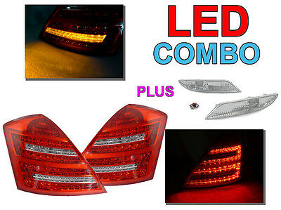 2010 Mercedes S-class - DEPO 2010 Look Mercedes W221 S CLASS Red/Clear LED Tail + Side Marker Light Set