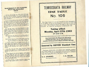 Railway; TEMISCOUATA RAILWAY, no 105 time table 1942
