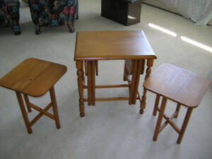 NESTING SIDE TABLES. ALL WOOD. GROUP OF FOUR.