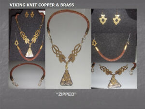 """Zipped"" Collection - Necklace/collar/choker, Bracelet, Earrings"