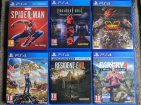 PS4 Spiderman Street Fighter Outer Worlds Resident Evil Farcry Games