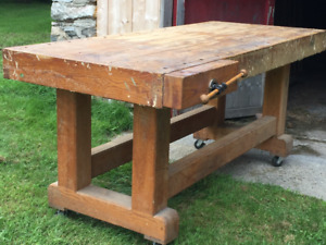 Solid Oak Work Bench with vice
