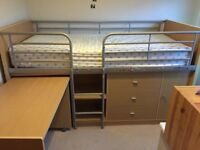 Children's mid sleeper storage bed pull-out desk 6x3ft good used condition