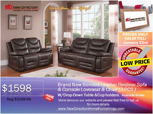 ◆Brand New 3PCS Heavy Duty Boned Leather Recliner Set@NEWD
