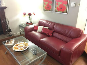 Burgundy/Red Leather Couches (2)