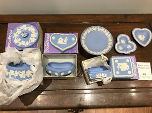 Wedgwood Jasperware pale blue candy dishes, bowls & jewelry box