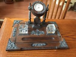 Antique Wood Desk Set & Ink Well With Clock And Metal Details Glass Jars