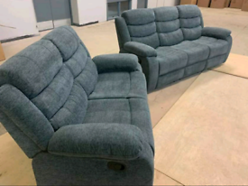 3+2 Seater Sorrento Fabric Recliners Sofas With Cupholders