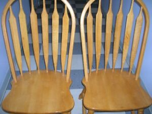 GREAT PAIR SOLID WOOD CHAIRS WITH SPINDLE BACK