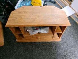 Corner TV stand with shelves and drawer