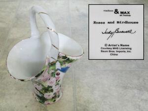 Judy Buswell design porcelain basket vase