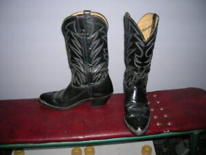 Durango 9 1/2 D Men's Leather Cowboy boots w/ silver steel toe