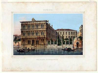 Venezia-Venedig-Lithographie Linassi/Habnit 1850 altkoloriert Palazzo Vendramin
