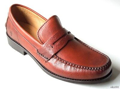 NIB mens FRYE Douglas Penny Hammered Whiskey brown leather loafers shoes -