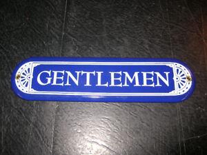 """10 Inch """"Gentlemen"""" Porcelain Sign."""