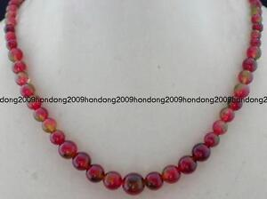 100% Natural 6-14mm Watermelon Tourmaline Gems Beads Necklace 18''