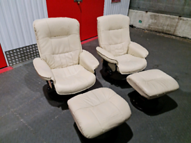 Leather swivel recliner chairs.