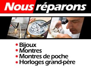 RÉPARATIONS  -- Bijoux – Montre – Horloge Grand-Père