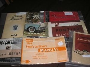Various Owners Manuals for older vehicles
