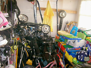 MANY USED GOLF CLUBS,FEW BAGS AND 2 CARTS