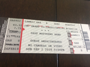 Four tickets for Dave Matthews Band  at the Gorge Amphitheater.