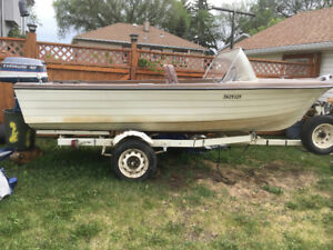 40HP Johnson & 15 ft boat and trailer