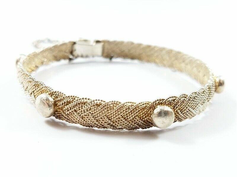 "sterling silver 925 bracelet 15.5g mesh braided beads studs vintage unmarked 7"""