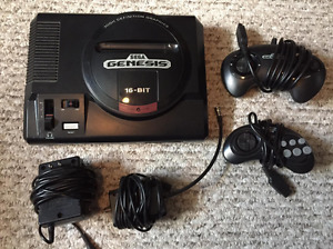 SEGA GENESIS  with 2 Controllers and 1 Game