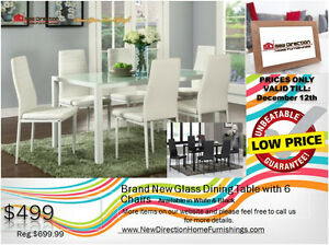 ◆Brand New 7pcs Metal Frame Dining Set W/Glass Top@NewDirection