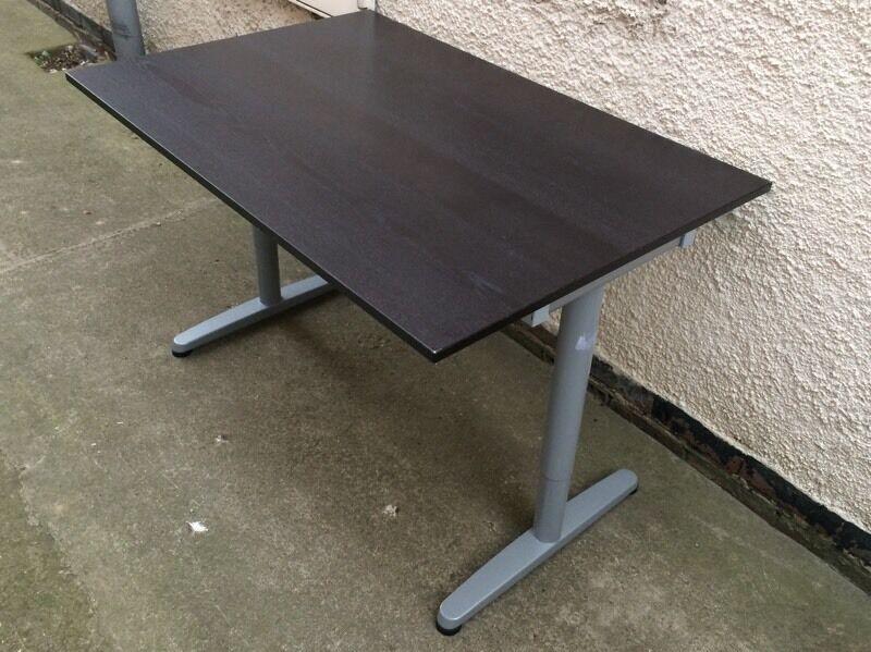 Ikea Galant Dark Brown Office Desk 80 X 120cm Height Adjustable