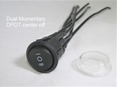 Double Momentary Round Rocker Switch Dpdt Center Off 22mm 12v Dual On-off-on
